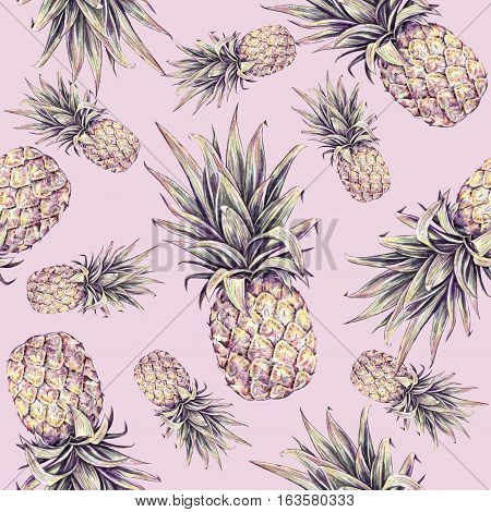 Pineapple on a pink background. Watercolor colourful illustration. Tropical fruit. Seamless pattern. Summer print