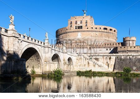 Castel Sant'angelo And St Angel Bridge In Rome