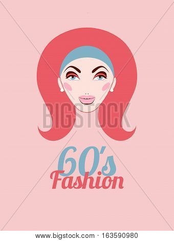 Fashion of sixties. Head of girl with hair and makeup in style of 60s. Vector illustration.