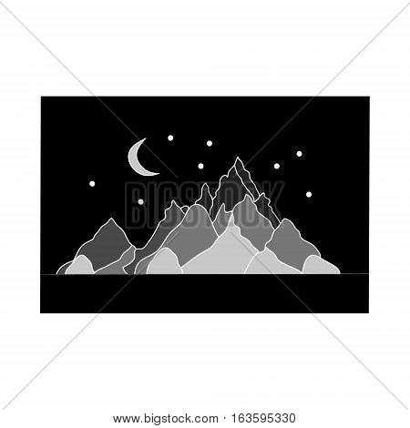 The mountains and the Crescent moon in the night. Silhouette of a mountain range that black background vector illustration