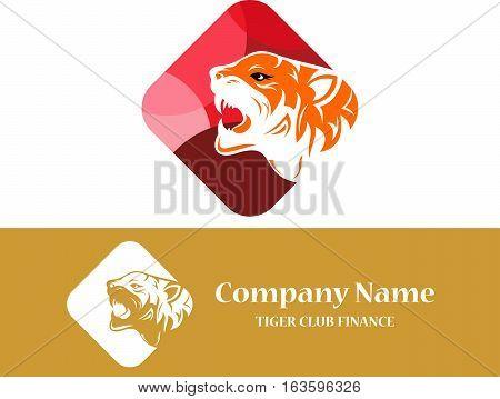 stock logo illustration tiger roar on cube