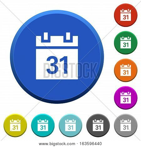 Calendar round color beveled buttons with smooth surfaces and flat white icons