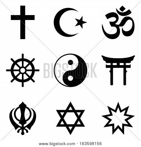 Symbols of World religions. Nine signs of major religious groups and principle religions. Christianity, Islam, Hinduism, Buddhism, Taoism, Shinto, Sikhism, Judaism, Bahai Faith. Illustration. Vector.