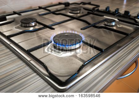 Gas Stove Close Up On The Home Kitchen