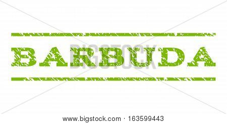 Barbuda watermark stamp. Text tag between horizontal parallel lines with grunge design style. Rubber seal stamp with unclean texture. Vector eco green color ink imprint on a white background.