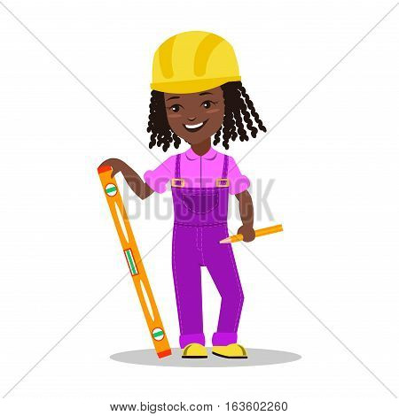 Girl builder character vector illustration. Happy occupation profession flat children. Colorful teenager engineer architect. Construction job people.