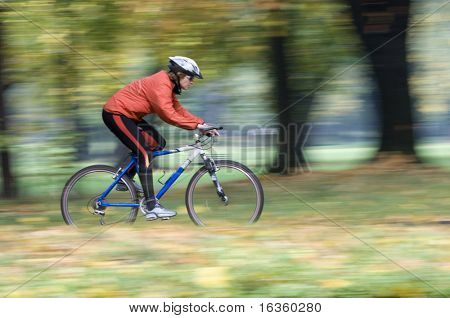 Autumn bike riding- intentional motion blur