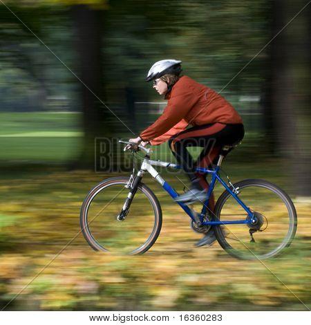 Autumn bike riding- intentional motion blur