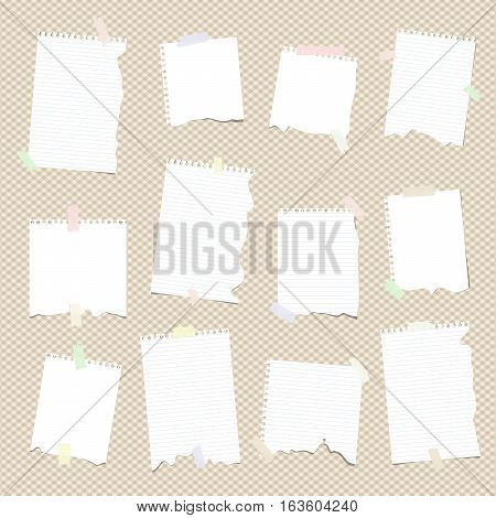 Pieces of white ruled torn note, notebook, copy book paper sheets stuck on brown squared background.