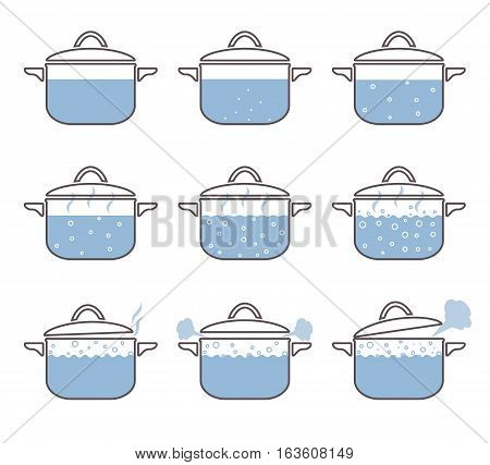 Set of boiling saucepan. Vector illustration isolated on white background.