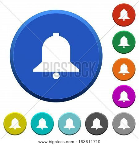 Bell round color beveled buttons with smooth surfaces and flat white icons