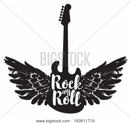logo with the electric guitar and the words rock and roll with wings