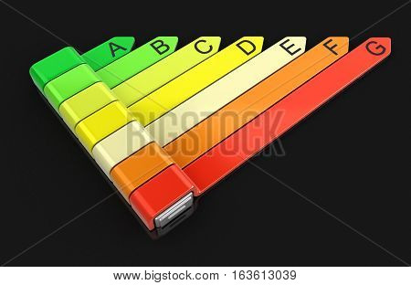 3D Illustration. Energy efficiency concept with rating chart. Image with clipping path