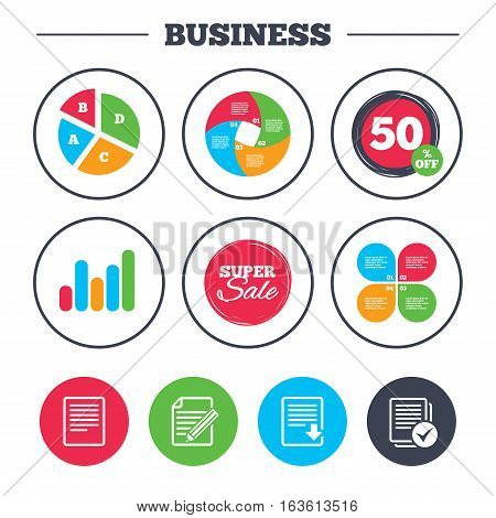 Business pie chart. Growth graph. File document icons. Download file symbol. Edit content with pencil sign. Select file with checkbox. Super sale and discount buttons. Vector