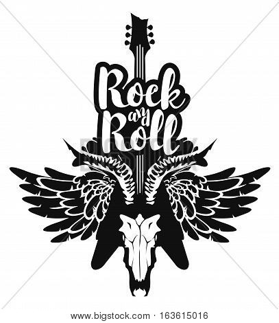 vector illustration with an electric guitar and skull of goat and wings with inscription rock and roll