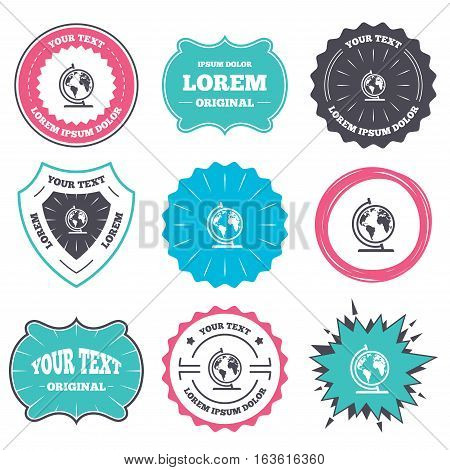 Label and badge templates. Globe sign icon. World map geography symbol. Globe on stand for studying. Retro style banners, emblems. Vector