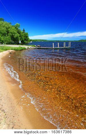 Lake Gogebic beach at Ontonagon County Park in Michigan.