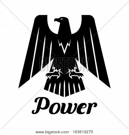 Eagle isolated icon. Vector heraldic gothic falcon bird symbol with open spread wings and claws. Hawk sign for sport team mascot, shield emblem, army, military, security coat of arms