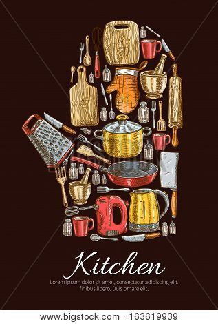 Kitchen utensils and kitchenware poster in shape of cooking glove. Vector symbol of sketch dishware grater, mixer, saucepan, frying pan, cooking glove and cup, electric kettle and mortar, cup and salt, cutting board and fork, hatchet and pepper, spatula,