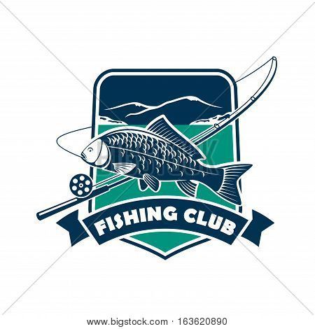 Fishing club sign or emblem. Fisherman sport adventure badge with vector shield shape symbol, fishing rod with float and hook, big carp of tuna fish in river water with blue ribbon design
