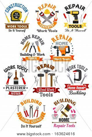 Repair, construction, building, carpentry emblems with work tools icons. measure tape and screwdriver, safety helmet and ax, electric drill and pliers, paint brush and plaster trowel, hammer and vise with spanner. Vector badges or ribbon symbols