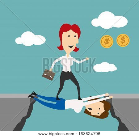 Woman manager overstep colleague to achieve money goals or career success. Business metaphor of doing elbow work or walking over heads and stepping over people for successful job promotion, financial wealth or leadership achievement