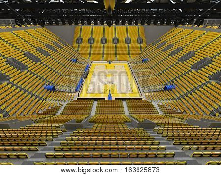 3D Render Of Beautiful Sport Arena For Basketball With Yellow Seats