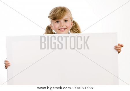 Little girl holding a blank sign
