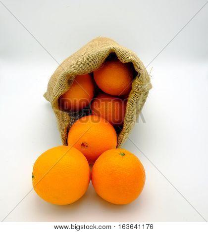 Authentic oranges sac of Valencia Spain. On jute canvas