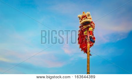BANGKOK, THAILAND - FEBRUARY 20 2016: Unidentified group of people perform a traditional lion dance at Rama IX public park to celebrate traditional Chinese's lunar new year