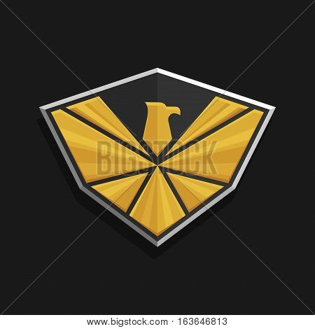 Eagle Logo Icon Design. Stylized eagle spreads its wings on a shield. Golden and silver color on a dark background. Stock vector emblem.