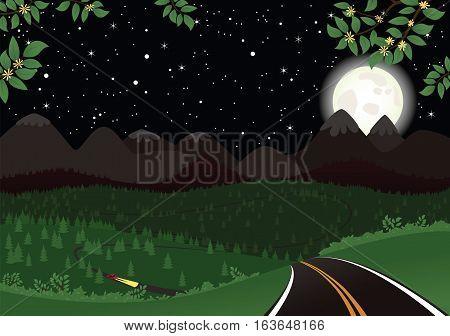 A beautiful starlit and full moon mountainous landscape.