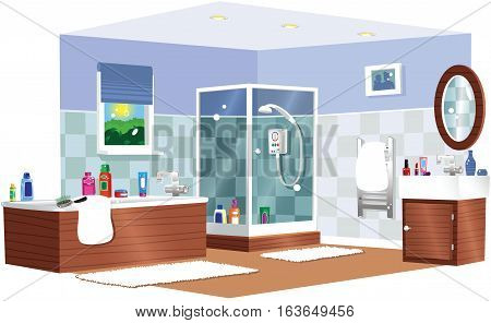 A cutaway illustration of a typical domestic bathroom.