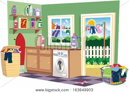 A cutaway image of a laundry room on wash day.