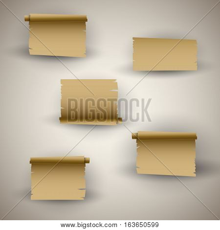 Vintage roll of paper or parchment papyrus or ancient old letter empty empty and torn poster template. Vector illustration
