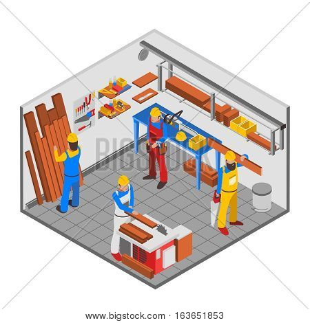 Woodwork people isometric concept with equipment tools and room vector illustration