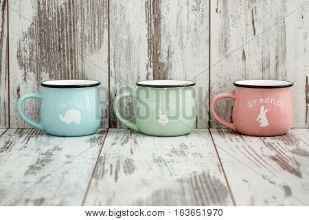 Colorful Ceramic Mugs With Enamel Look