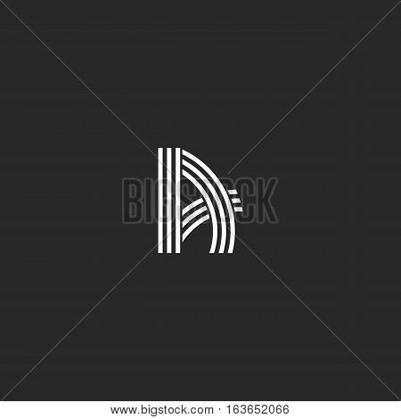 Letter Icon A Logo Idea Hipster Monogram, Overlapping Thin Parallel Line Graphic Design Emblem For W