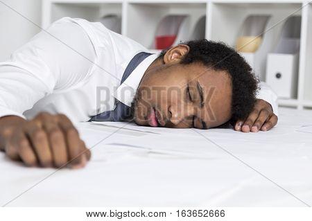 Sleeping African American Clerk In Office