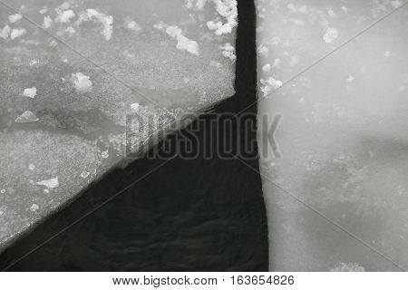 Ice floating on river in spring time. Winter landscape with melting of ice floe.