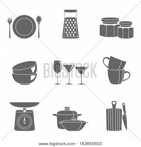 Kitchenware flat design silhouette icons vector set