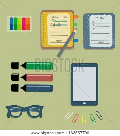 Stationery: The sheets of the planner in a cute polka dots. To Do Lists with little hearts. Stiсkers. Markers. Dark blue glasses. Pencils. Clips. Mobile phone. Smartphone. Vector illustration.