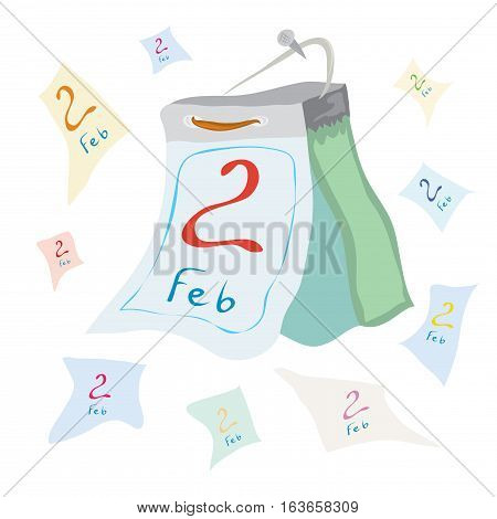 vector jocular tear-off calendar with the date of February 2 / endless Groundhog day