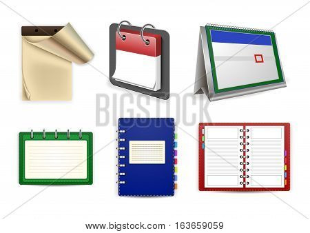 Illustration of datebook loose-leaf calendars and organizer set isolated