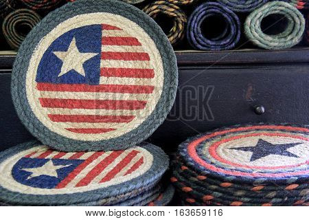 Americana circular placemats with stars and stripes as their design.