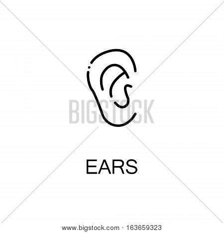 Ears flat icon. Single high quality outline symbol of human body for web design or mobile app. Thin line signs of ears for design logo, visit card, etc. Outline pictogram of ears