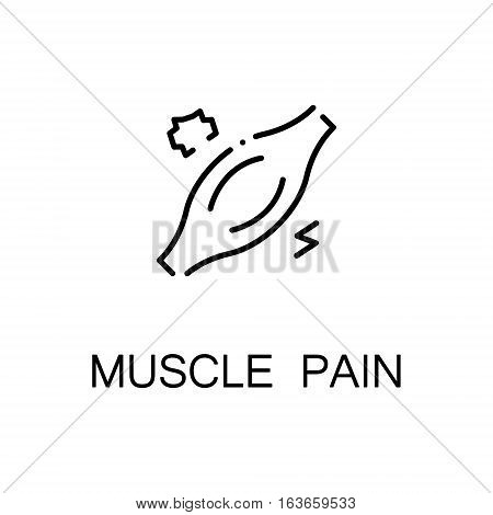 Muscle pain flat icon. Single high quality outline symbol of illness for web design or mobile app. Thin line sign of muscle pain for design logo, visit card, etc. Outline pictogram of muscle pain