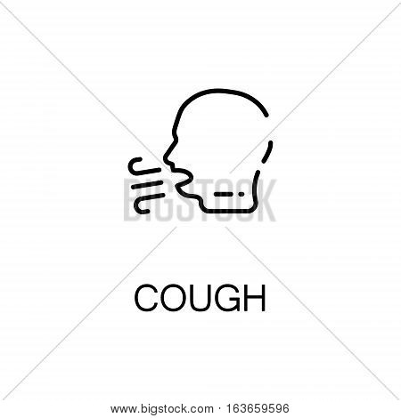 Cough flat icon. Single high quality outline symbol of illness and injury for web design or mobile app. Thin line signs of cough for design logo, visit card, etc. Outline pictogram of cough