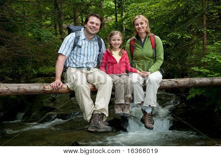 Family on mountain trek