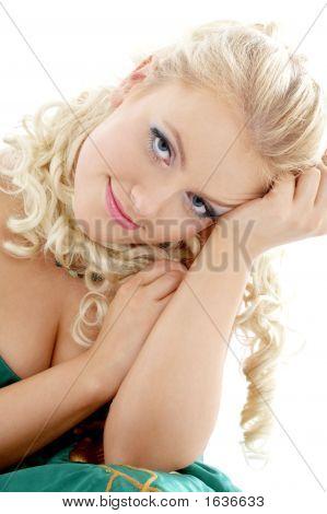 Portrait Of Blond In Green Dress